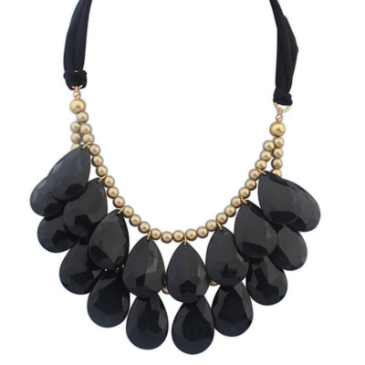 Rachel Black Waterdrop Shape Decorated Double Layer Design Resin Bib Necklaces