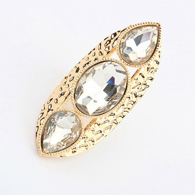 Winter White Gemstone Decorated Simple Design Alloy Korean Rings