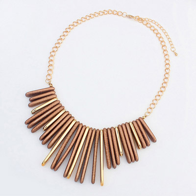Fit Coffee Rectangular Shape Decorated Simple Design Alloy Bib Necklaces