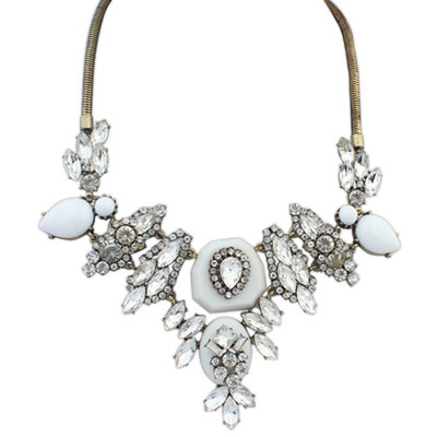 Revealing White Diamond Decorated Waterdrop Shape Design Alloy Bib Necklaces
