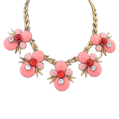 Hemming Pink Gemstone Decorated Bee Shape Design Alloy Bib Necklaces