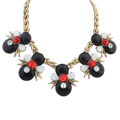 Flirty Black Gemstone Decorated Bee Shape Design Alloy Bib Necklaces