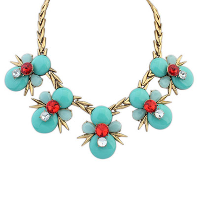 Statement Blue Gemstone Decorated Bee Shape Design Alloy Bib Necklaces