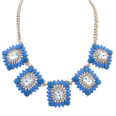 Little Blue Gemstone Decorated Square Shape Design Alloy Bib Necklaces