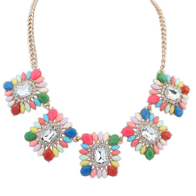 Homemade Multicolor Gemstone Decorated Square Shape Design Alloy Bib Necklaces