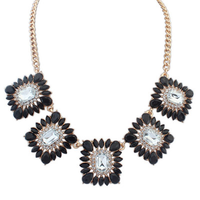 Papyrus Black Gemstone Decorated Square Shape Design Alloy Bib Necklaces