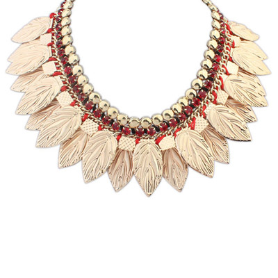 Inspired Red Leaf Shape Decorated Simple Design Alloy Bib Necklaces