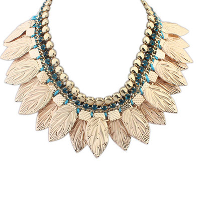Double Green Leaf Shape Decorated Simple Design Alloy Bib Necklaces