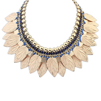 Moving Blue Leaf Shape Decorated Simple Design Alloy Bib Necklaces