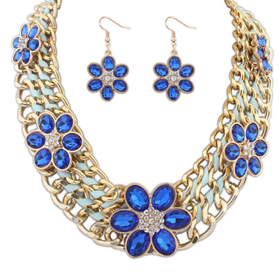 Fake Blue Flower Decorated Weave Design Alloy Jewelry Sets