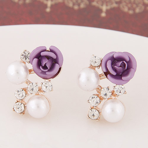 Sweet Purple Diamond&rose Flower Decorated Simple Design  Alloy Stud Earrings