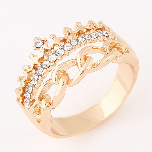 Sweet Gold Color Crown&metal Chain Decorated Irregular Design Alloy Korean Rings