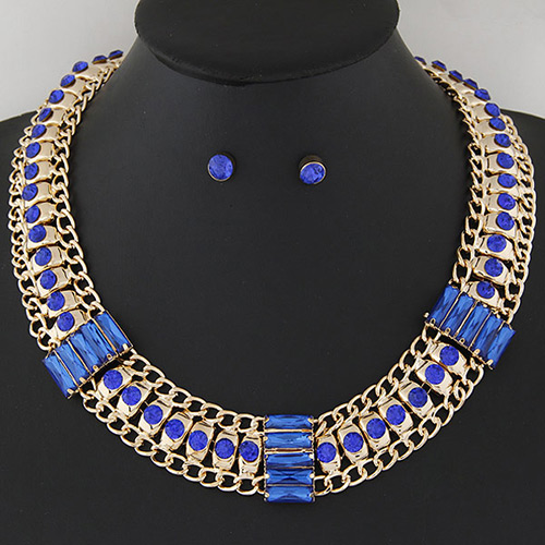 Temperament Sapphire Blue Hollow Out Metal&diamond Weaving Decorated Collar Design