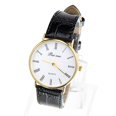 Couple Models Black & Gold Color Leather Thin Strap Simple Design Alloy Men's Watches