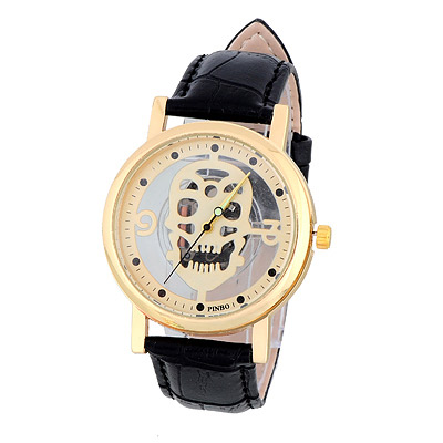 Bardian Black&gold Color Skull Pattern Decorated Hollow Out Design Alloy Men's Watches