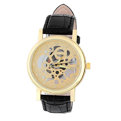Bardian Black&gold Color Roman Numerals Decorated Hollow Out Design Alloy Men's Watches
