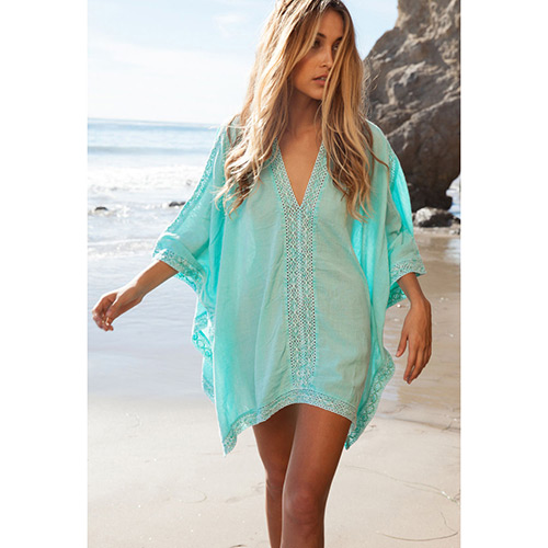 Sexy Green Flower Pattern V-neck Design Bikini Cover Up Smock  Cotton Swimwear Accessories