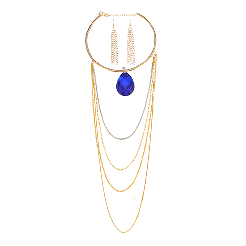 Fashion Sapphire Blue Waterdrop Shape Diamond Decorated Long Tassel Design