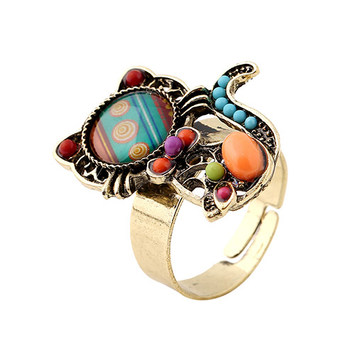 Vintage Multi-color Cat Shape Decorated Simple Design Alloy Korean Rings