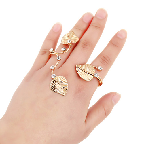 Elegant Gold Color Leaf&diamond Decorated Simple Design Alloy Korean Rings