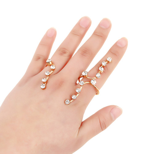 Fashion Gold Color Diamond Decorated Simple Design Alloy Korean Rings