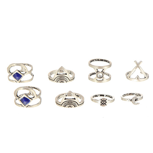 Fashion Silver Color Gemstone Decorated Geometric Shape Design(8pcs)