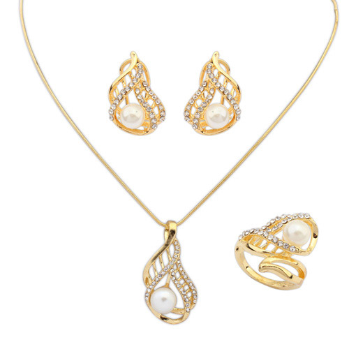 Exaggerate Gold Color Pearl Hollow Out Tortuosity Pendant Decorate