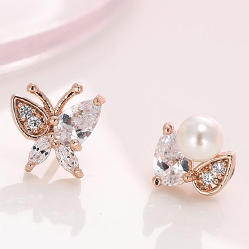 Elegant Rose Gold Pearl Decorated Butterfly Design Simple Earrings
