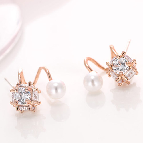 Elegant Rose Gold Diamond&pearl Decorated Simple Opening Earrings