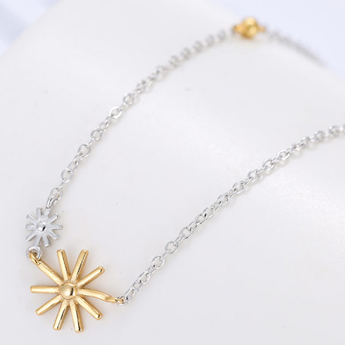 Fashion Silver+gold Color Sunflower Shape Pendant Decorated Bilayer Design Pure Color Necklace