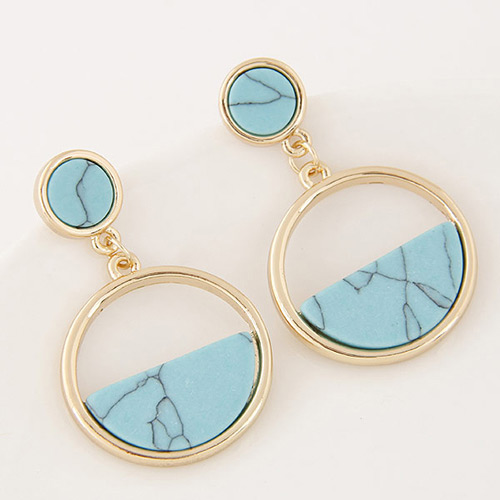 Elegant Blue Semi-circle Gemstone Decorated Round Shape Earrings
