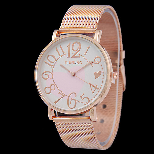 Personality Gold Color Big Digital Pattern Decorated Metal Stap Design Man Watch Alloy Men's Watches