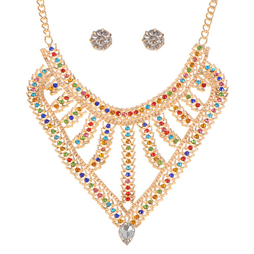 Lovely Multi-color Water Drop Shape Diamond Pendant Decorated Simple Jewelry Sets