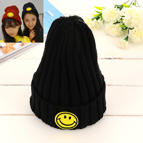 Lovely Black Smiling Face Pattern Decorated Pure Color Knitting Hat