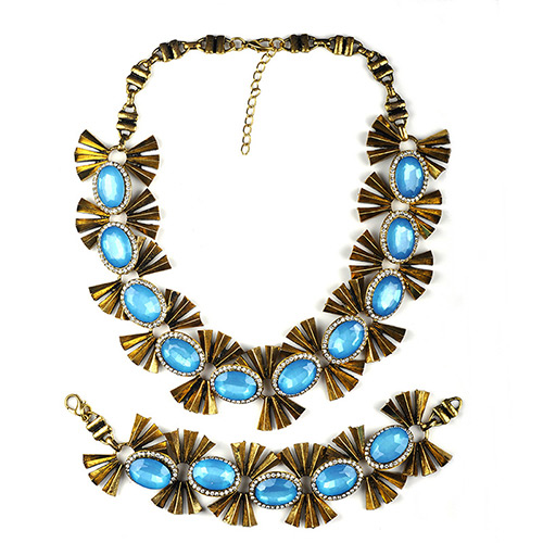 Personality Blue Metal Butterfly Decorated Short Chain Jewelry Sets
