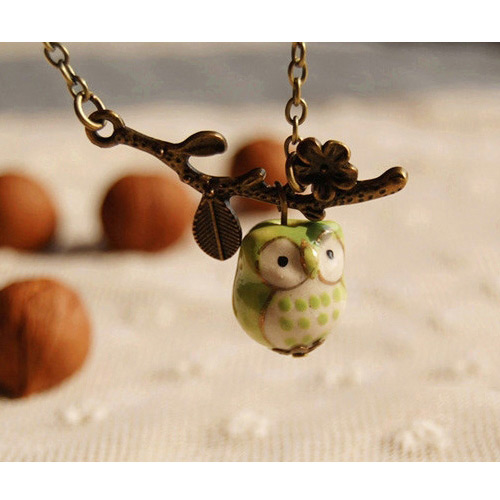 Lovely Green Owl Pendant&branches Decorated Simple Long Necklace