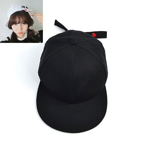 Sweet Black Heart&bowknot Decorated Pure Color Hip-hop Cap