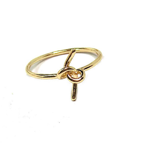 Elegant Gold Color Pure Color Design Knot Shape Simple Ring