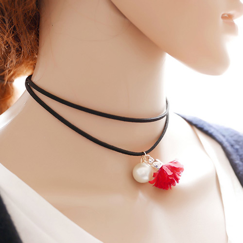 Exaggerated Black Pearl&flower Pendant Decorated Doubler Layer Choker