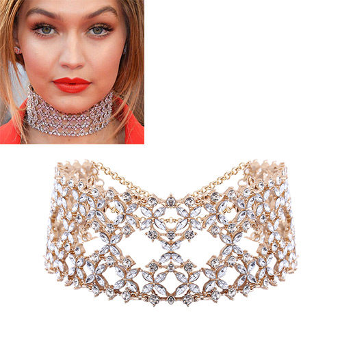 Fashion Gold Color Oval Diamond Decorated Hollow Out Design Choker