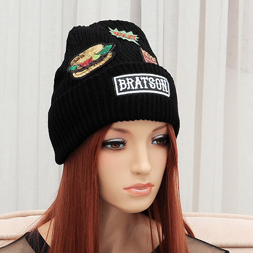 Elegant Black Hamburger&french Fries Pattern Decorated Pupre Color Cap