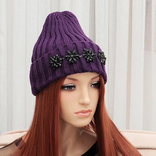 Elegant Purple Diamond Flower Shape Decorated Pure Color Cap