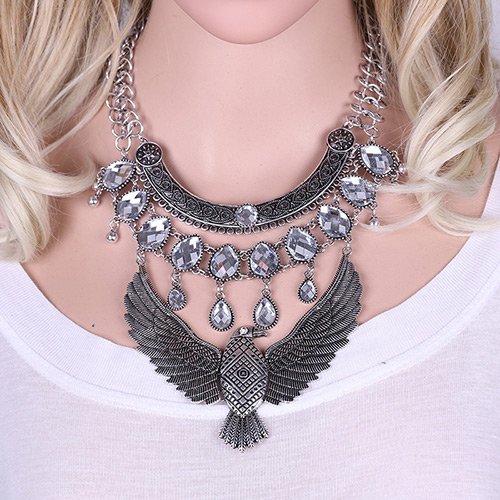Exaggerate Silver Color Metal Eagle Pendant Decorated Multilayer Necklace