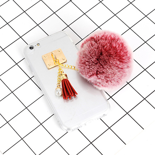 Fashion White+red Tassel &fuzzy Ball Decorated Iphone6/6s Case