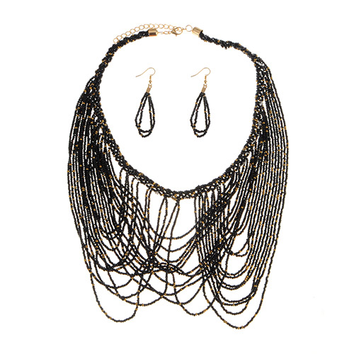 Fashion Black Round Shape Decorated Tassel Jewerly Sets