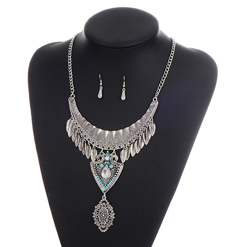 Fashion Silver Color+blue Leaf Pendant Decorated Hollow Out Design Jewelry Sets