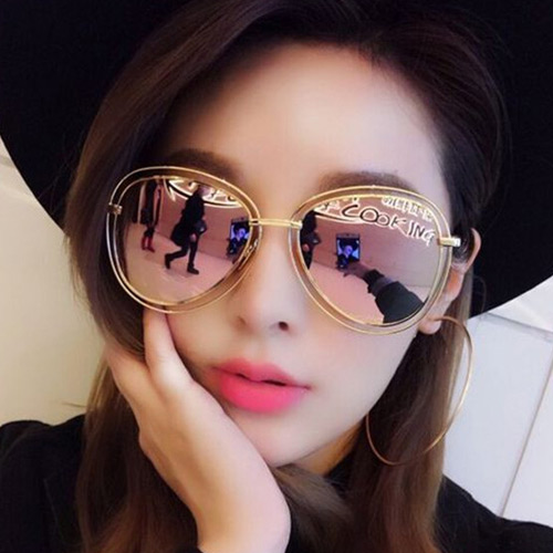 Sweet Light Pink Oval Shape Frame Decorated Pure Color Sunglass