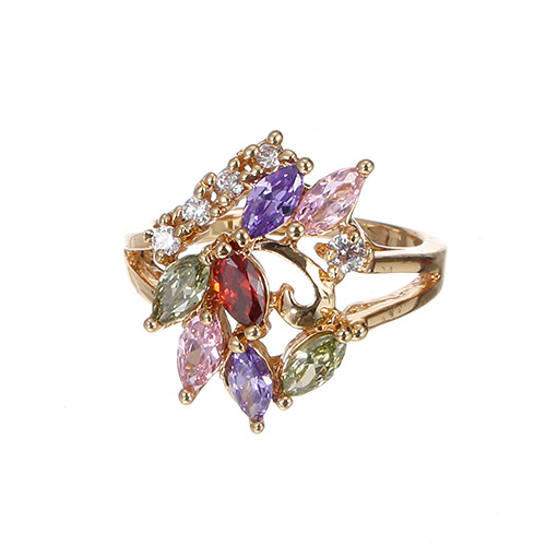 Fashion Multi-color Water Drop Shape Diamond Decorated Hollow Out Design Ring