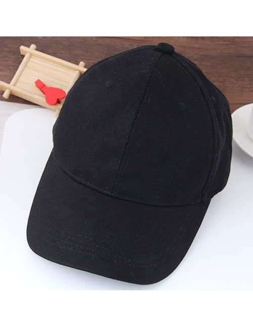 Fashion Black Pure Color Decorated Simple Baseball Cap