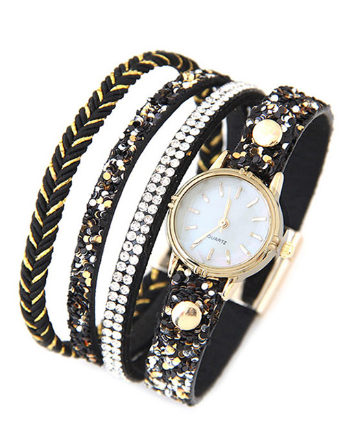 Trendy Black Diamond Decorated Round Dail Multi-layer Simple Watch